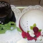 Hochzeitstorte - Hüte für Braut und Bräutigam