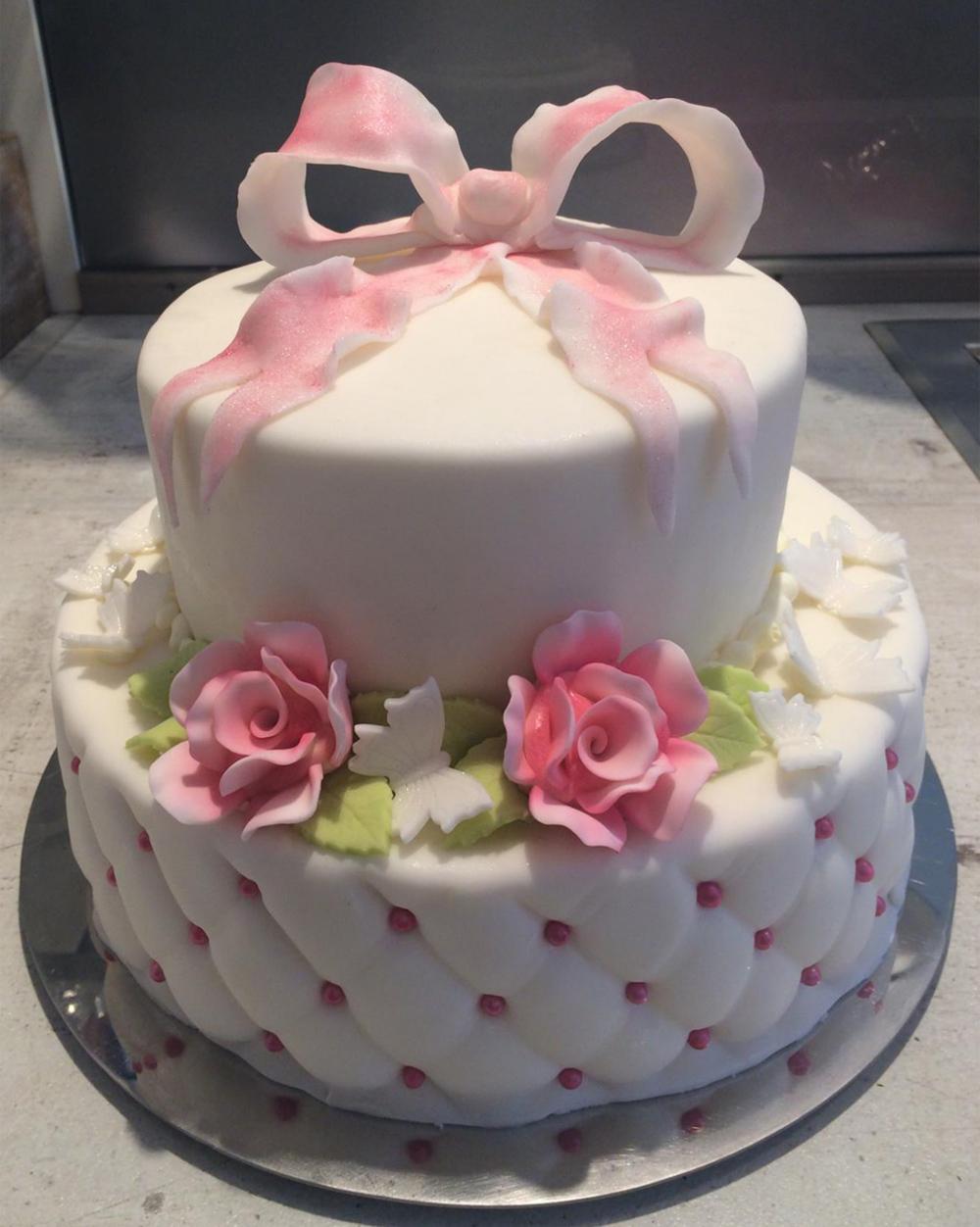 Hochzeitstorte 2-stöckig weiß/rosé